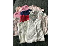 Baby girl 9-12 months babygrows and vest bundle