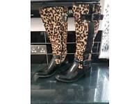 Leopard print boots size 5
