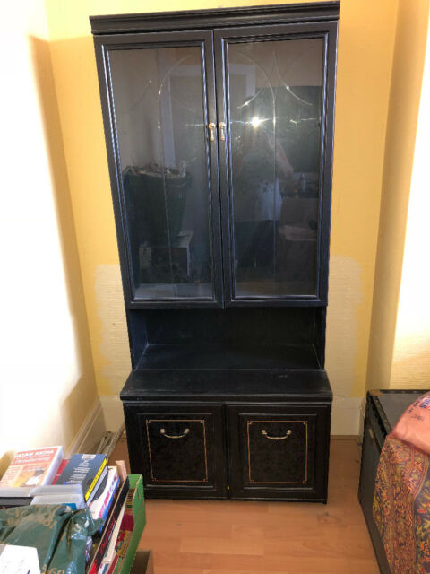Fantastic 2 X Tall Black Ash Glass Doors Display Cabinets In Willesden Green London Gumtree Home Interior And Landscaping Analalmasignezvosmurscom