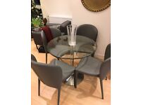 Glass Dining Table and 4 leather dining chairs - Dwell Palermo set, less than 1 year old