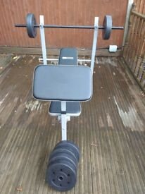 immaculate weight bench ,bar and weights