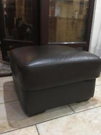 Leather ottoman stool in dark brown