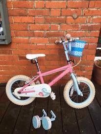 Kids bike blue/pink fairy design plus stabilisers
