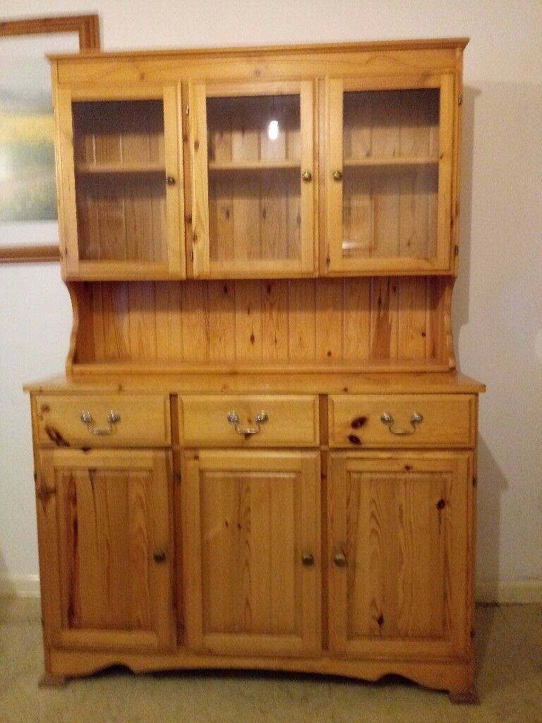 Large Ducal Solid Pine Welsh Dresser 3 Doors Drawers And Glazed Opening Cabinet