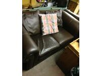 2 year old brown leather sofa bed - 2 seater also 3 seater matching sofa excellent condition