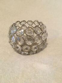 Small oval plastic diamanté tea light holder