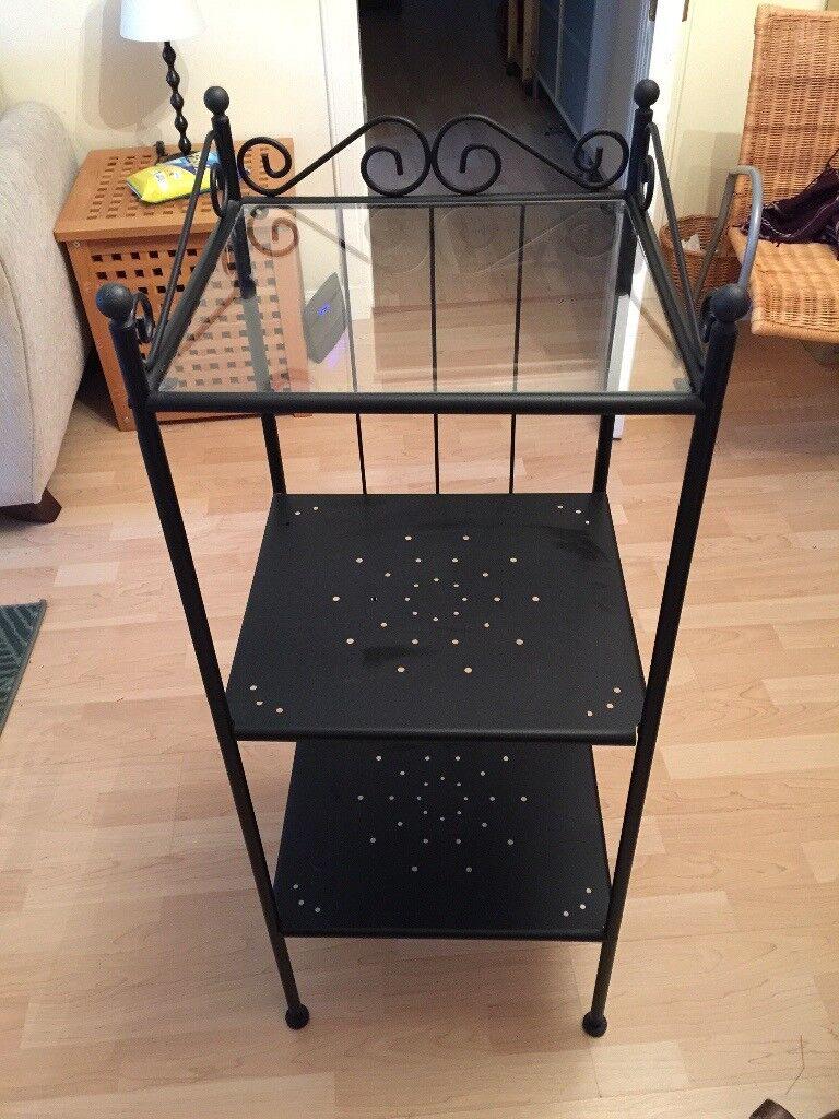 Black shelving unit- black metal, great condition