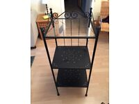 Black shelving unit- black metal, great condition