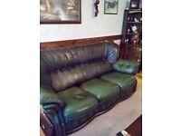 Antique green leather 3 piece suite