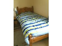 3ft Wide Pine Single Bed with Mattress and Bedding