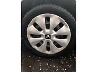 Used Steel Wheel & Winter Tyres set for Citroen C1/Peugeot 107, 108/Toyota Aygo,