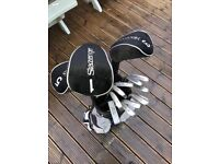 Full Slazenger golf set and golf bag ranging from SW to 3 iron, putter, 3 & 5 Wood & Driver.