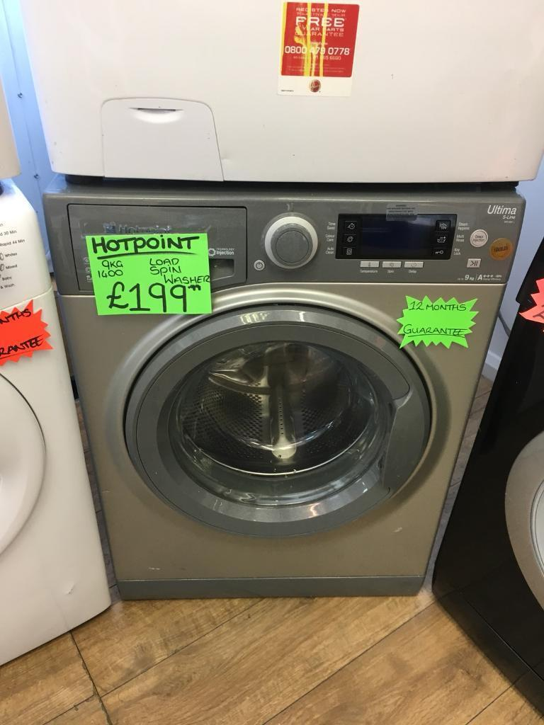 HOTPOINT 9KG DIGITAL SCREEN NEW MODEL WASHING MACHINE IN GREY