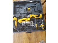 DEWALT CORDLESS TOOLS AND MAKITA RADIO WITH NEW BATTERY AND CHARGER
