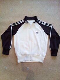 Adidas Vintage Cream/Brown Sports Zip Jacket