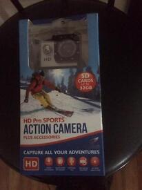 HD action camera as new boxed 16gb card inc