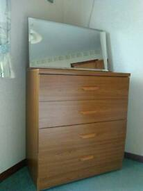 Drawer unit with mirror + 2 x bedside tables