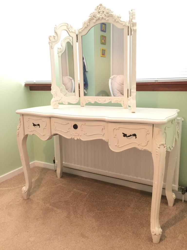Large white dressing table and mirror