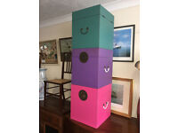 3 Gorgeous Brand New Nanjing Small Storage Chest Trunks in Aged Aubergine, Pink & Teal