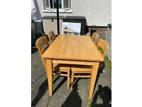 John Lewis Solid Wood Dining Table and 4 solid wood chairs