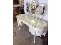 Louis style cream dressing table and mirror
