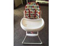 Folding high chair hardly used