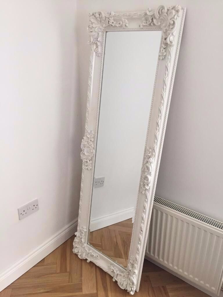 Vintage Style White Freestanding Ornate Long Full Length