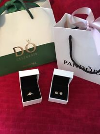 Pandora Sparkling Love Knot Ring and Earring s