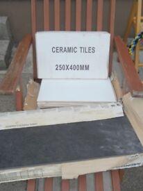 CERAMIC TILES, 18 white tiles 250mm x 400mm, 7 black tiles 600mm x 300mm