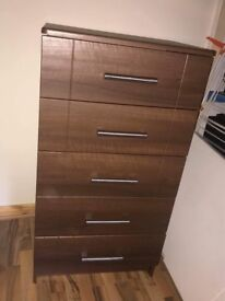 Solid Mahogany triple wardrobe, 2 bedside lockers & a chest of drawers