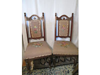 Pair of Antique Carved Wood Hall Chairs with Tapestry Seats and Backrests