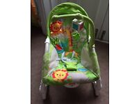 Fisher Price vibrating baby bouncer Jungle scene