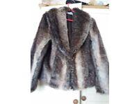 Brown fur jacket size 12 worn twice