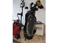 Job Lot of Golf Clubs, bags, balls, tees and Cart