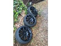 "17"" 5x100 alloy wheels nearly new tyres golf/beetle/mk4 platform fitment"