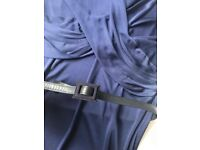 VERY ELEGANT CHRISTIAN DIOR EVENING DRESS (navy) WITH CEINTURE BELT (size 12 UK)