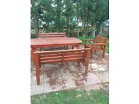 Garden table and chairs solid wood