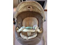 Graco Sweetpeace swing mimics natural motion of rocking a baby. Lots of functions.