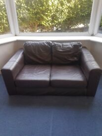 Brown faux leather sofa- FREE