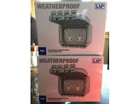 Weatherproof IP66 13A Outboard Switched Electric Socket x 2