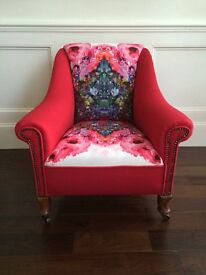 Vintage Armchair - upholstered in a Timorous Beasties fabric
