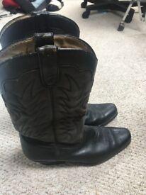 Sancho Black Full Leather Cowboy boots! Mens size 9- 10 UK RARE