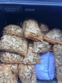 DRY BAGS OF OFF CUT WOOD IN LARGE CARROT BAG SIZE BAGS