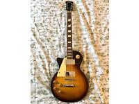 Left-handed Stagg electric guitar, Les Paul style, Tobacco Sunburst, FREE STAND