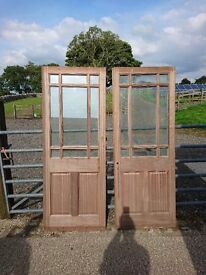 Pair of Mahogany Hardwood Doors - Half Glazed