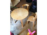 Children's dining table with two chairs