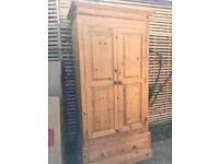 Large double door solid pine wardrobe with rail and drawer, vgc