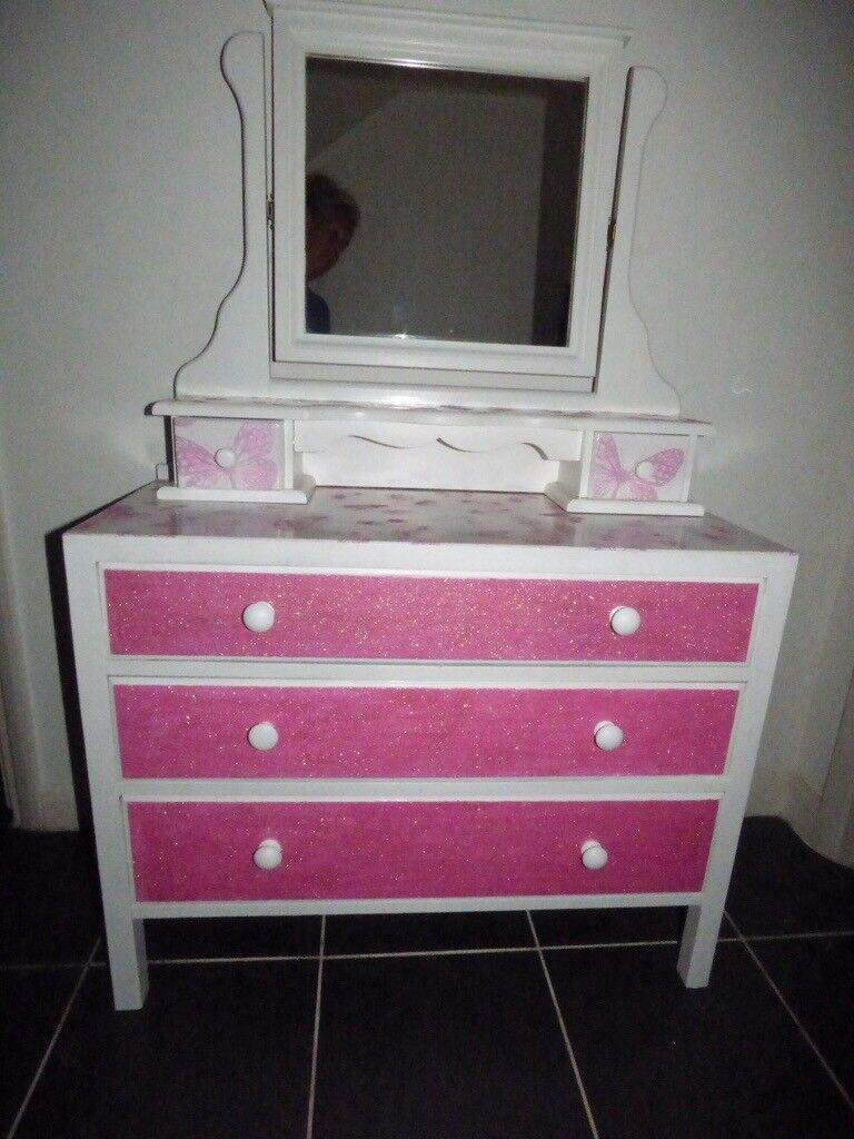 Pink glitter dressing table  chest drawers with mirror  ec8fc9fb2