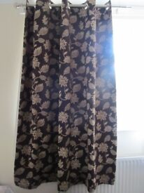 Chocolate brown curtains fully lined 66 x 72
