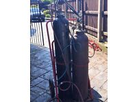 oxy acetylene welding kit with bottles and trolley